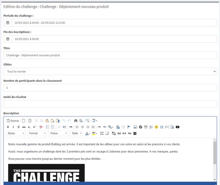 challenge et animation commerciale